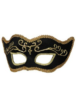 Adult's Black Velvet Mardi Gras Mask