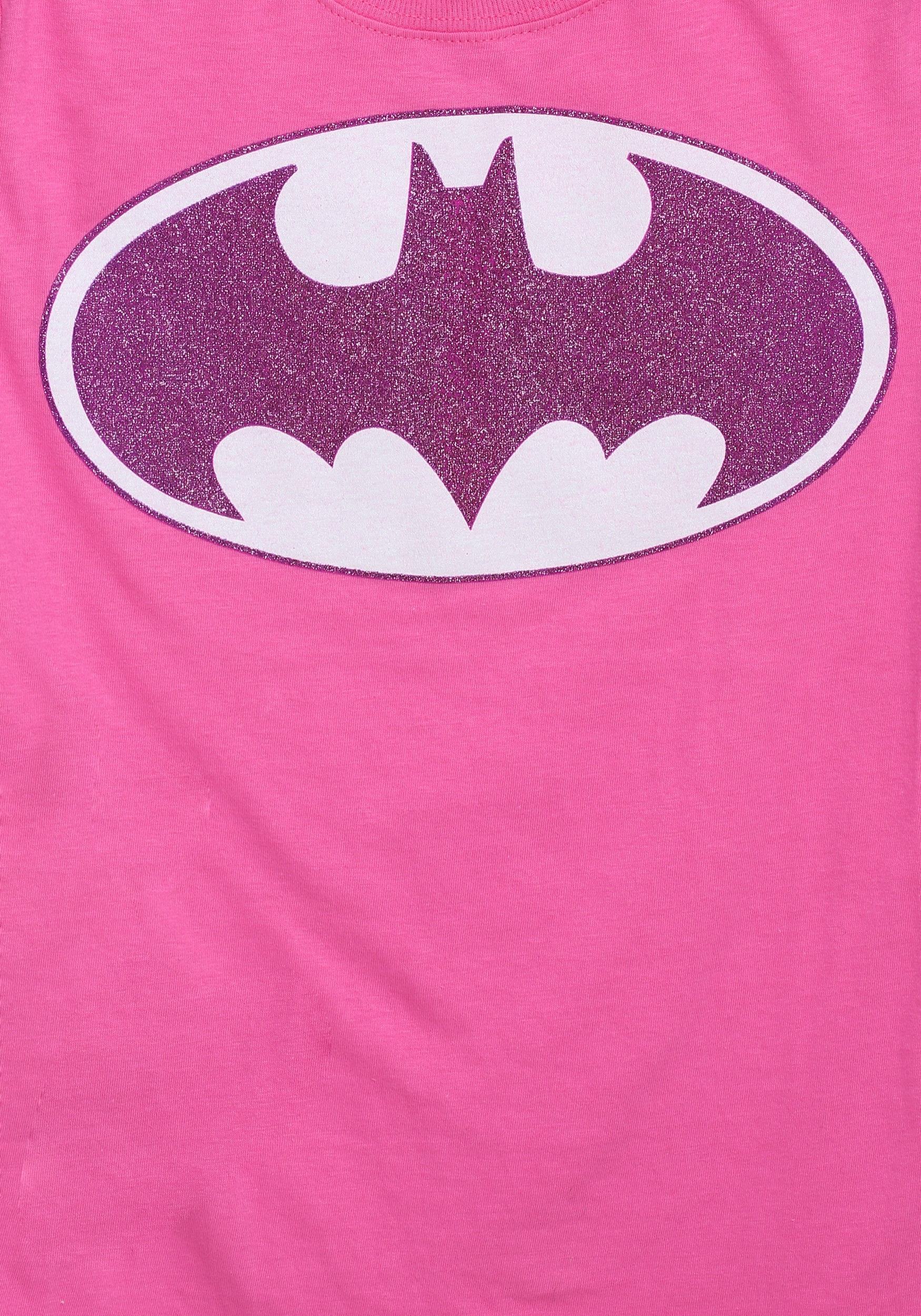 ede1e2379529 Girls Pink Batman Glitter Logo T-Shirt2
