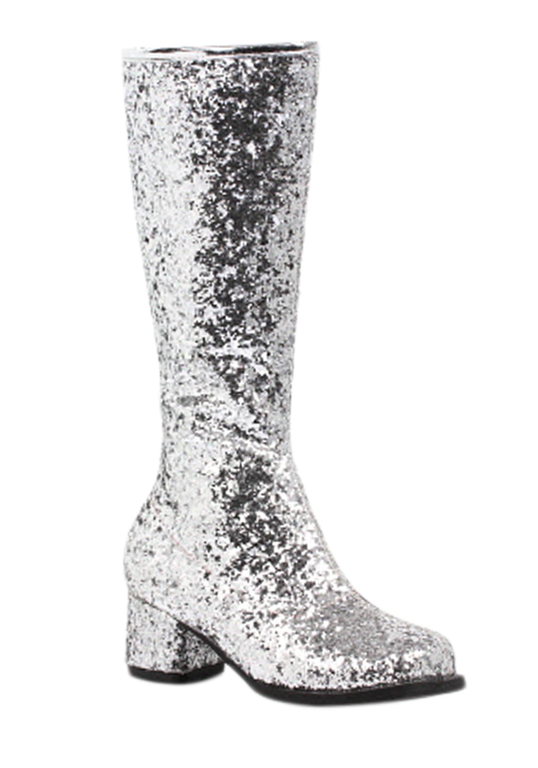 Silver Glitter Girls Go Go Costume Boots