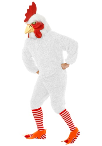 Plus Size White Rooster Costume For Adults