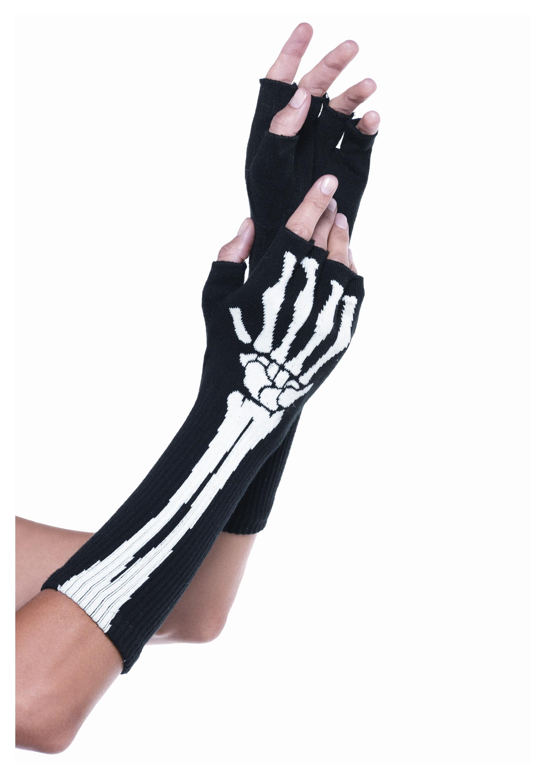 Adult SKELETON GLOVES Long Opera Length Gloves Printed White Bones on Black