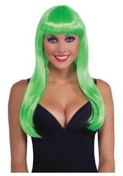Women's Long Neon Green Wig11