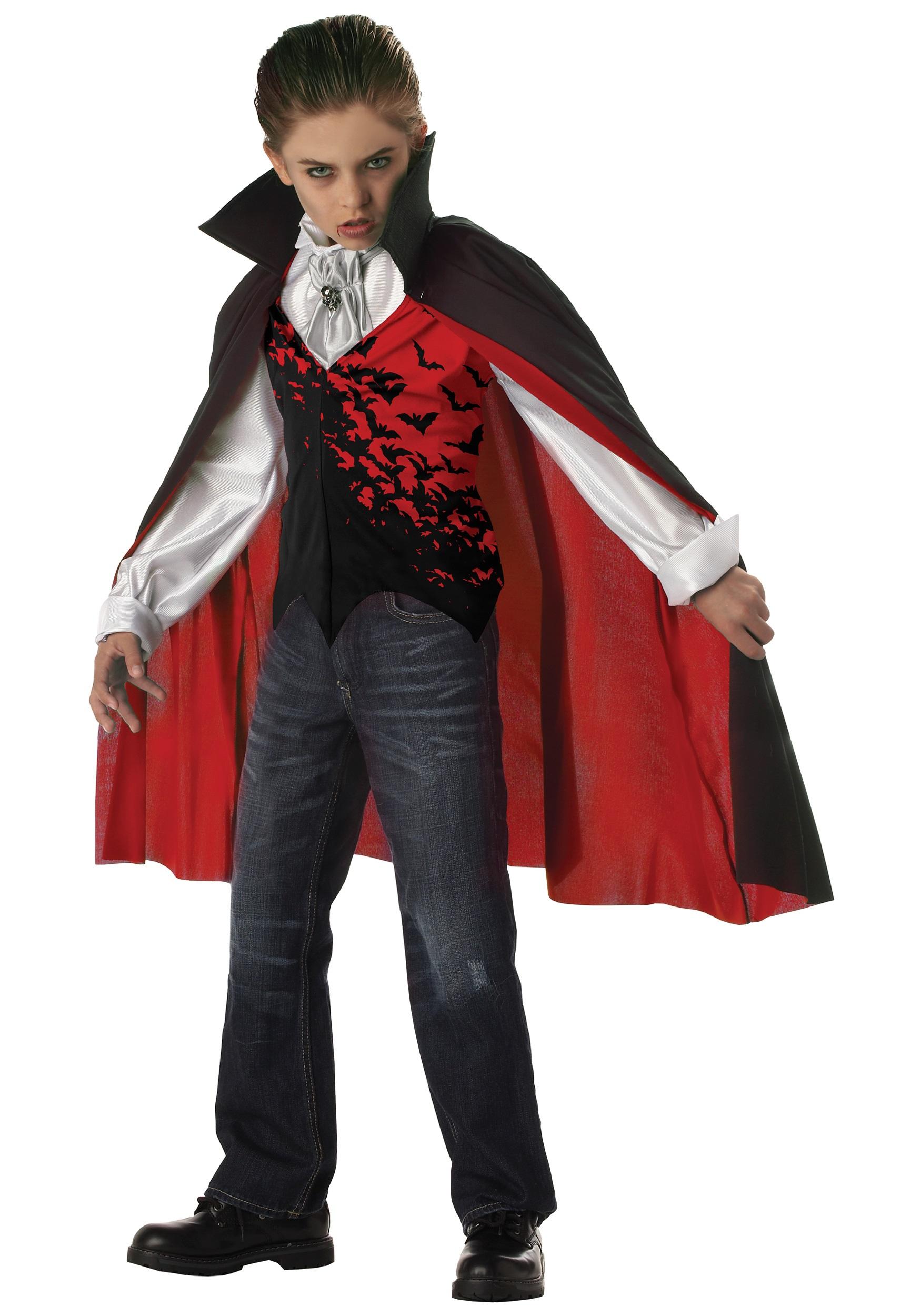 Gothic Vampire Boys Deluxe Midnight Halloween Kids Costume Cape Dracula NEW