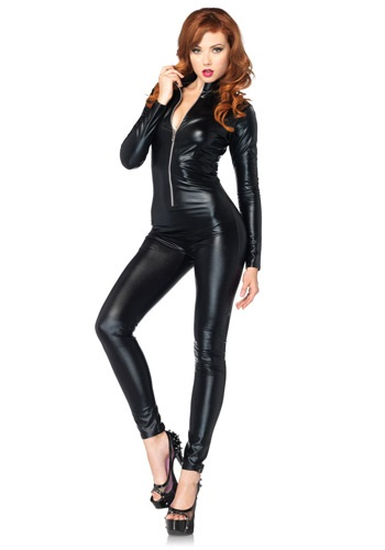 Sexy Black Zipper Womens Catsuit