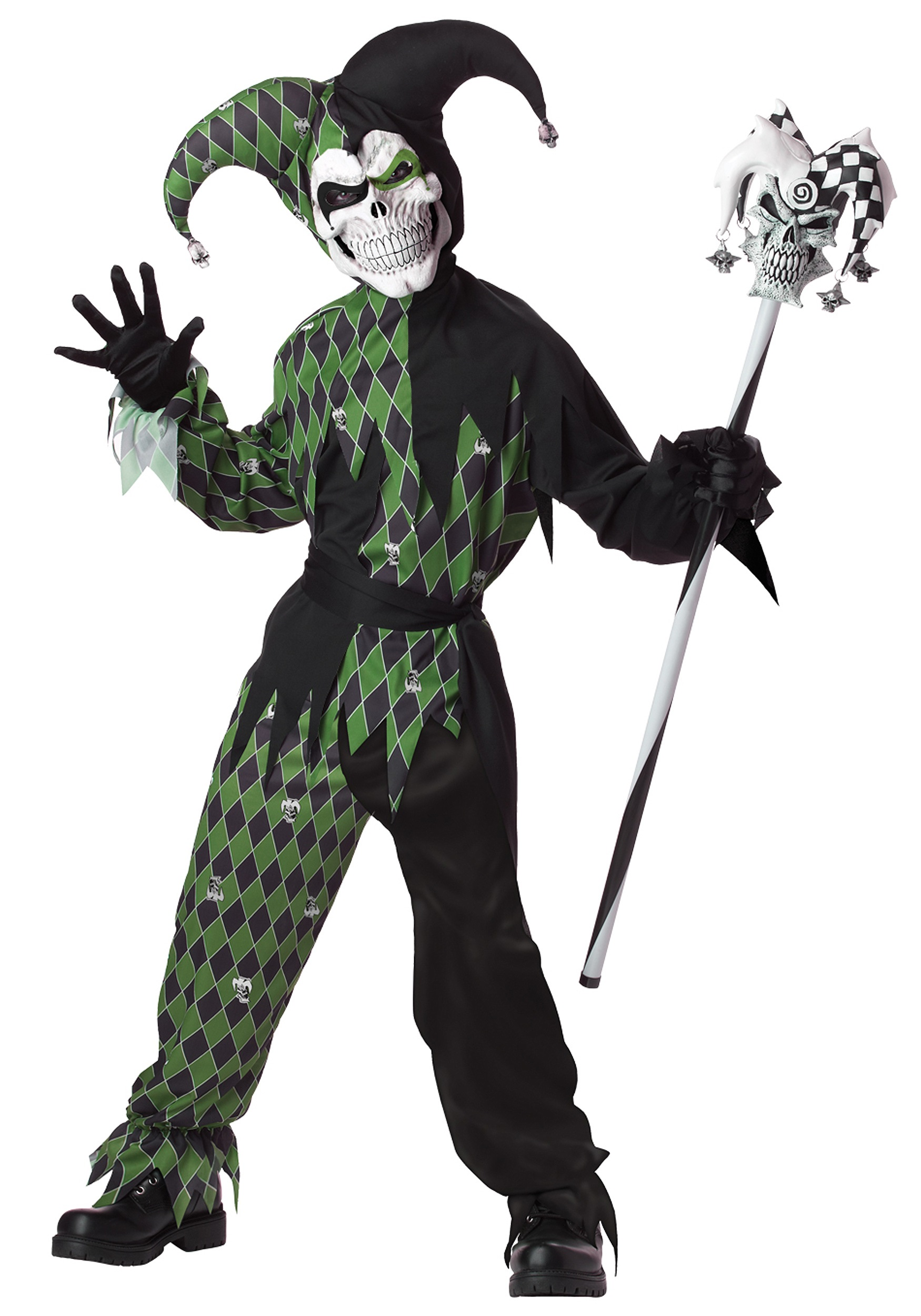 Green scary jester costume for boys green scary jester boys costume solutioingenieria Image collections