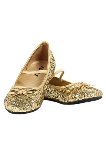 Girls Gold Glitter Ballet Flats