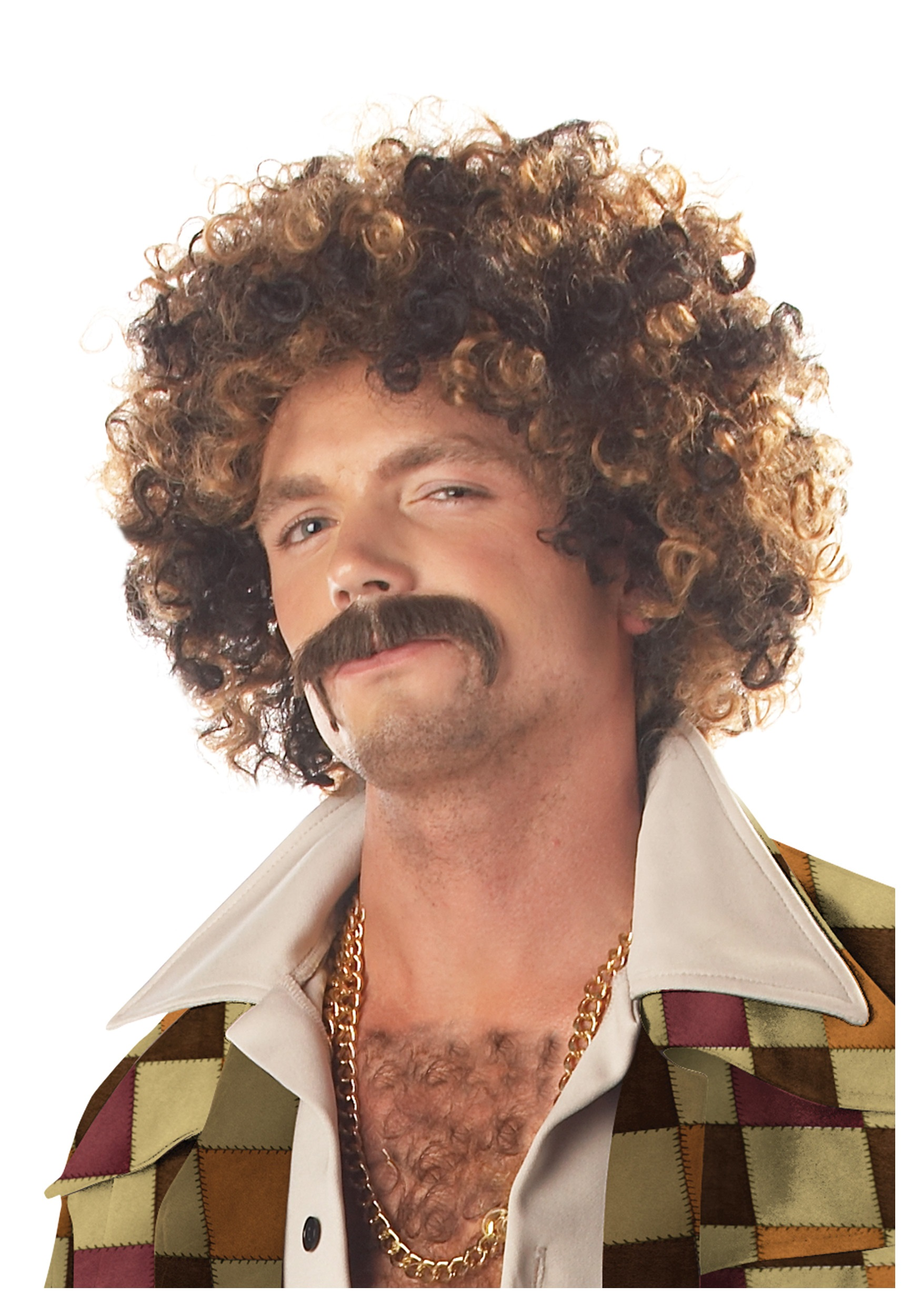 Disco dirt bag wig and mustache for adults