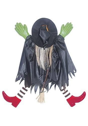 Tree Trunk Witch w/ Red Shoes Halloween Decoration