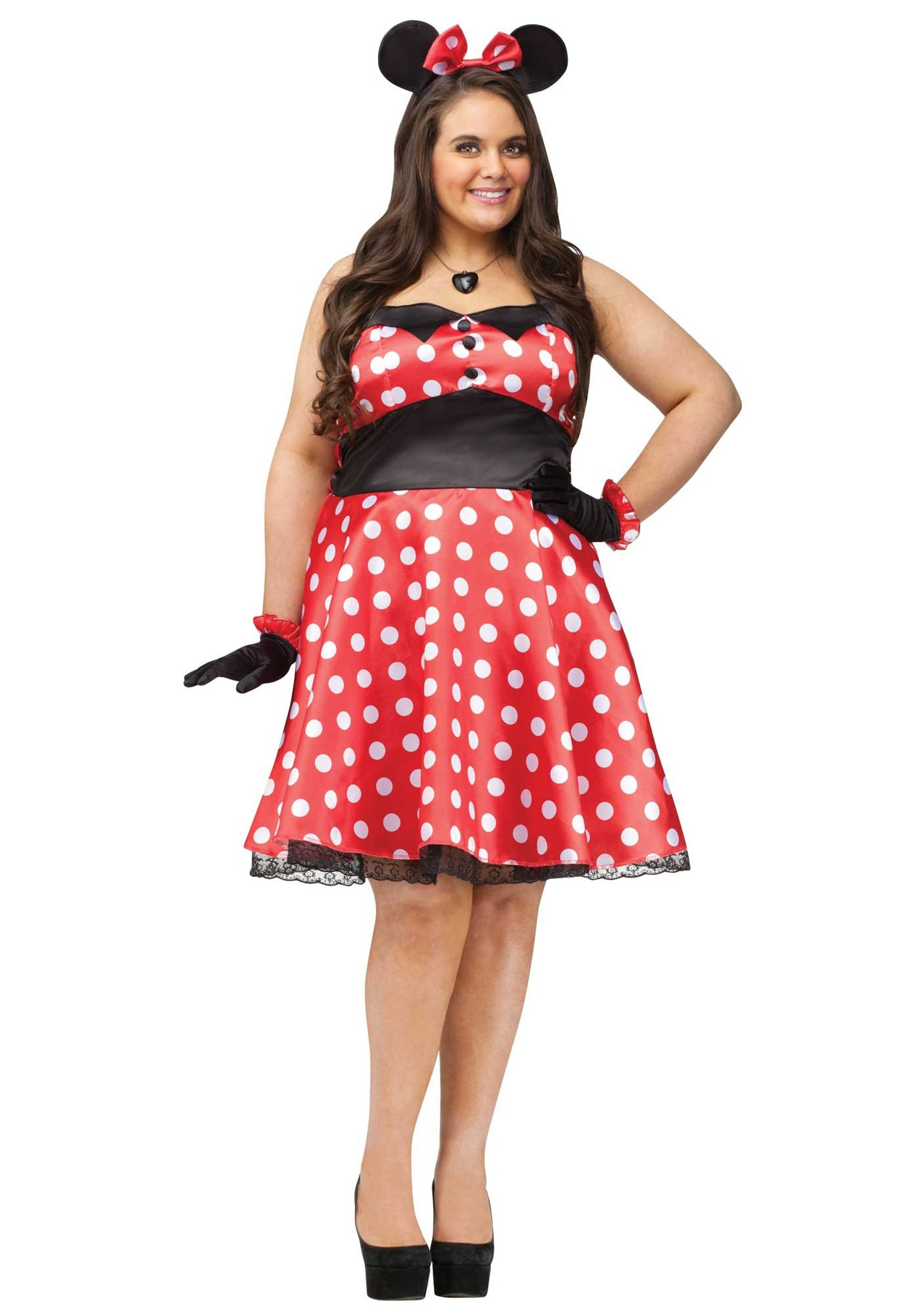 Plus Size Retro Miss Mouse Costume for Women