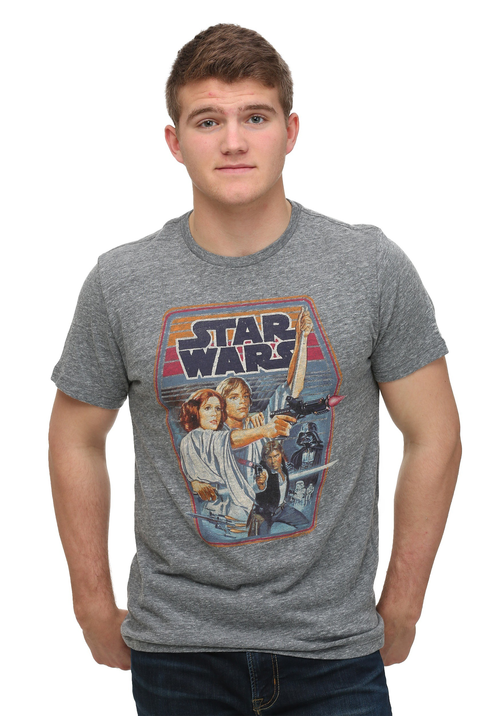 Men 39 s junk food star wars steel t shirt for Mens shirt with stars