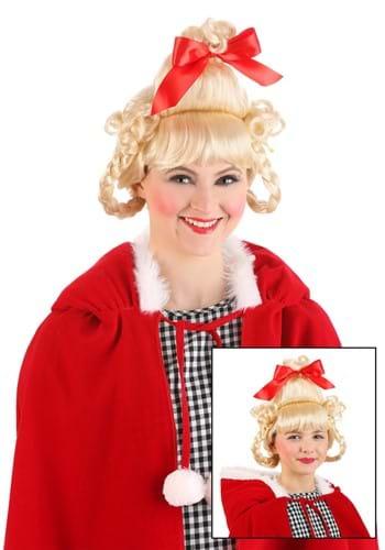 Christmas Girl Red Bow Wig 1