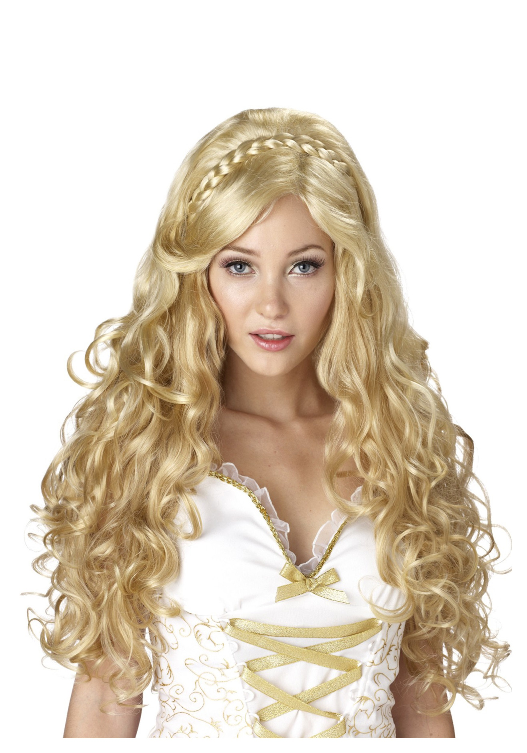 womens blonde goldilocks goddess wig