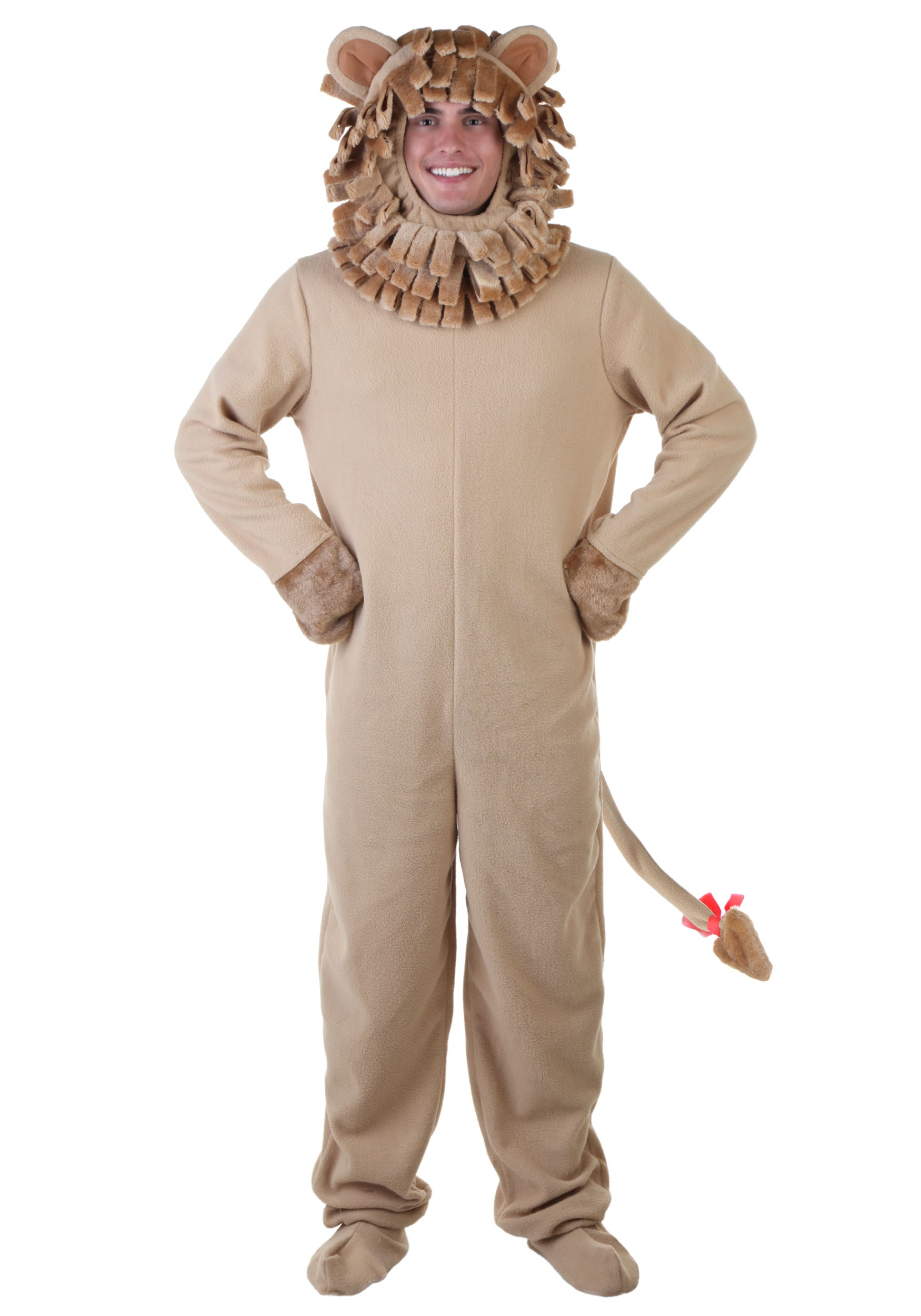Lion Jumpsuit Mens Fancy Dress Jungle Zoo Animal Adults Novelty Costume Outfit