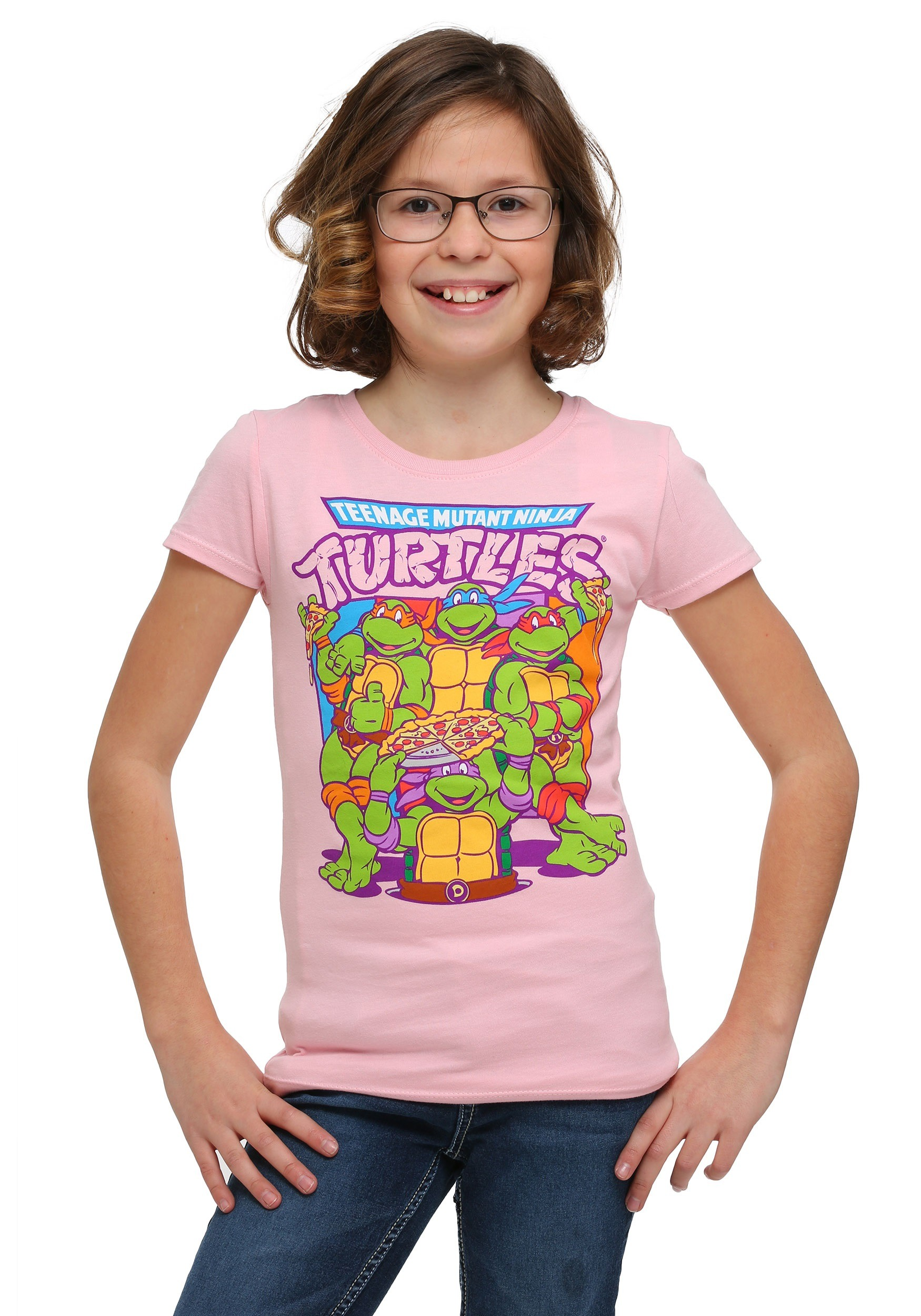 Girls Tmnt Group Pizza Pink T Shirt