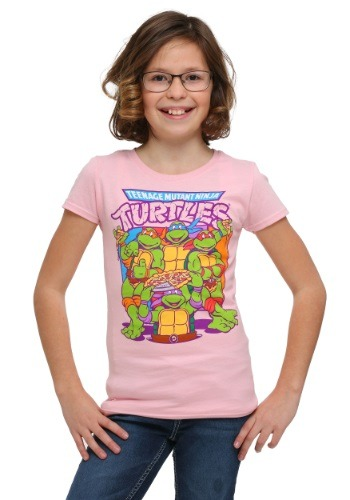 Girls TMNT Group Pizza Pink T-Shirt