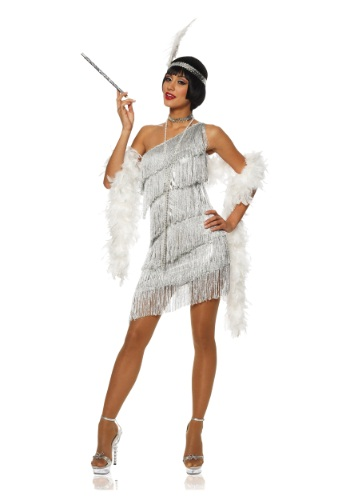 Dazzling Women's Silver Flapper Dress