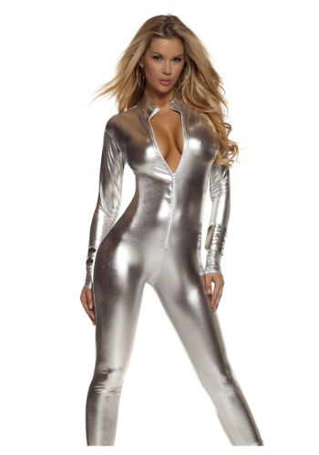 Women's Solid Silver Mock Neck Jumpsuit