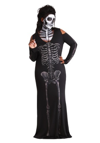 Womens Bone Appetit Skeleton Plus Size Long Dress update1