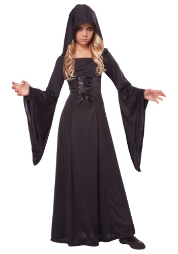 Deluxe Black Hooded Girls Robe