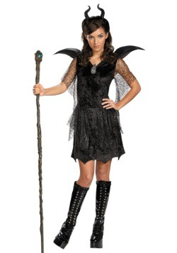 Black Maleficent Gown Costume For Tween