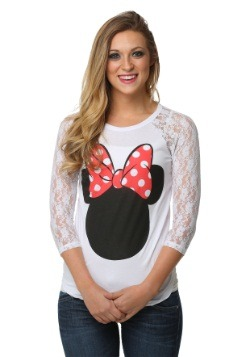 Minnie Mouse Lace Sleeve Juniors Raglan Shirt