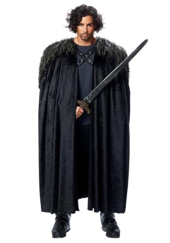 Men's Medieval Fur Trimmed Black Cape