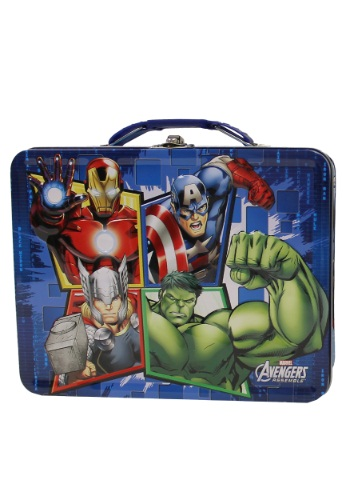 Blue Avengers Assemble Tin Lunch Box