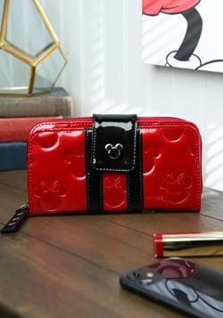 Mickey And Minnie Red Black Patent Embossed Wallet
