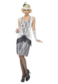 1920s Silver Flapper Costume For Adults