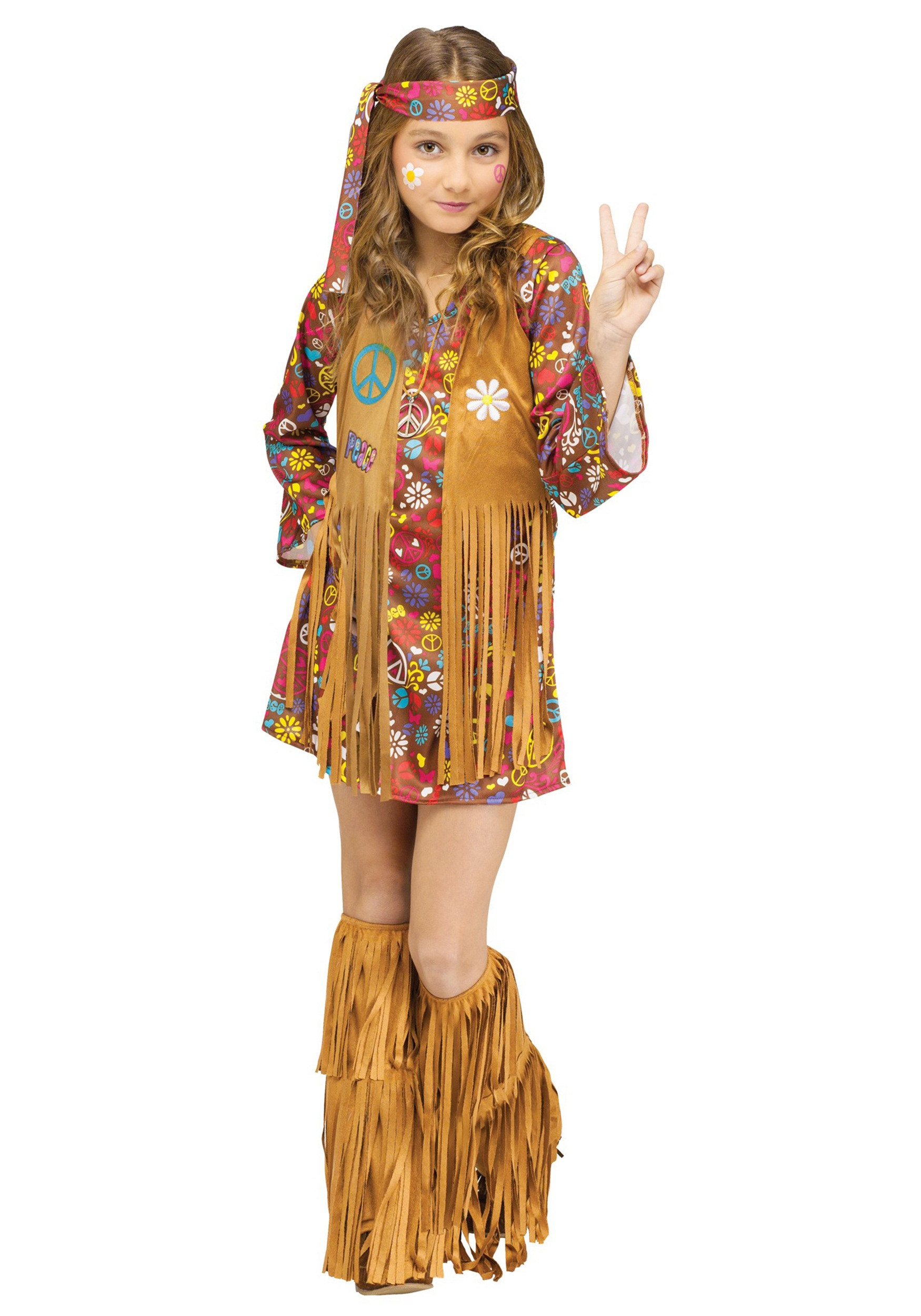 Peace u0026 Love Hippie Costume  sc 1 st  Fun.com & Peace u0026 Love Child Hippie Costume