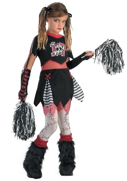 Gothic Cheerleader Girls Costume