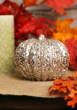 5 Inch Champagne Glitter Pumpkin Decoration Update 2