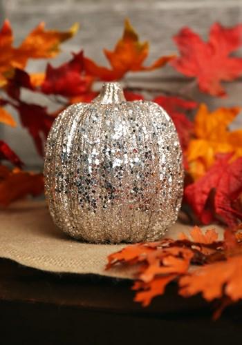 Champagne Glitter Pumpkin Halloween Decor Update 1