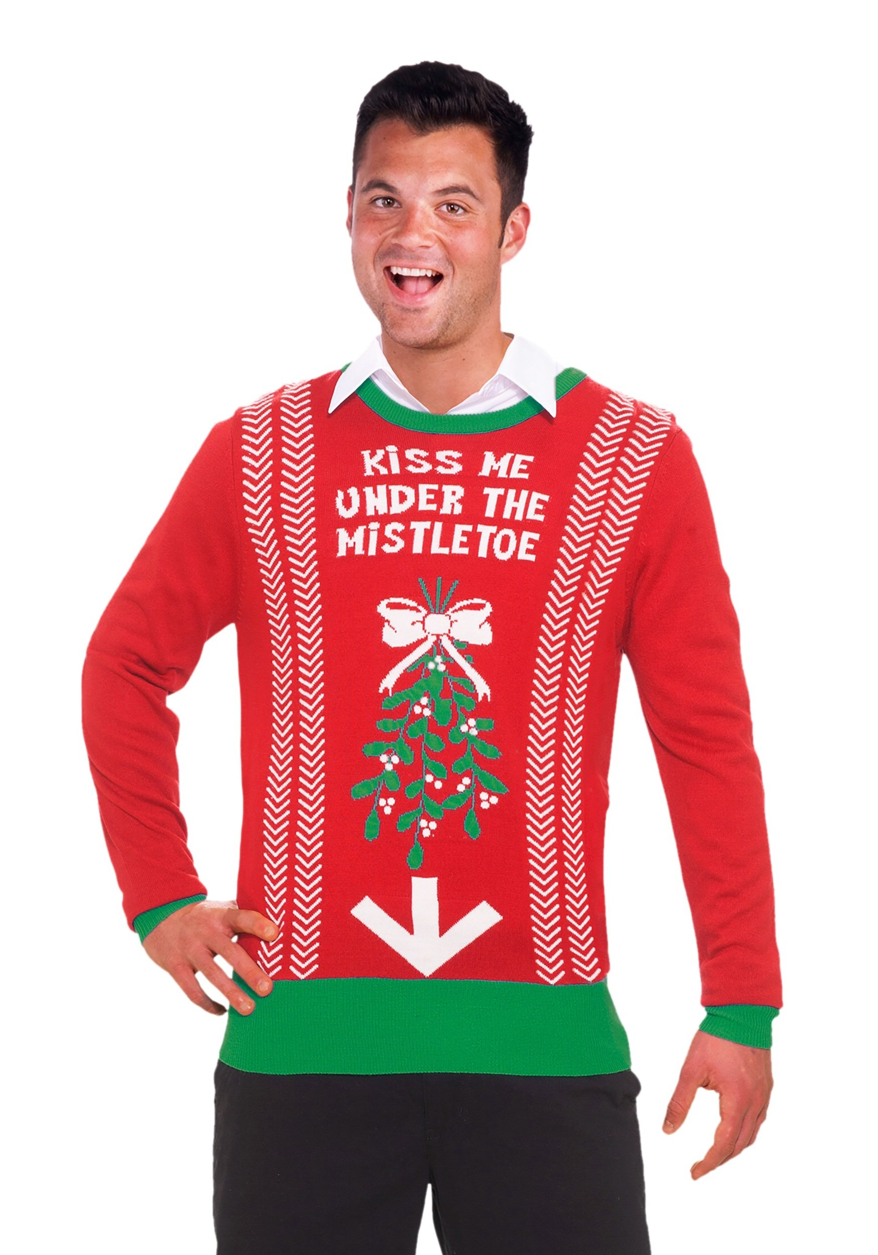 kiss me under the mistletoe ugly christmas sweaterkiss me under the mistletoe christmas sweater