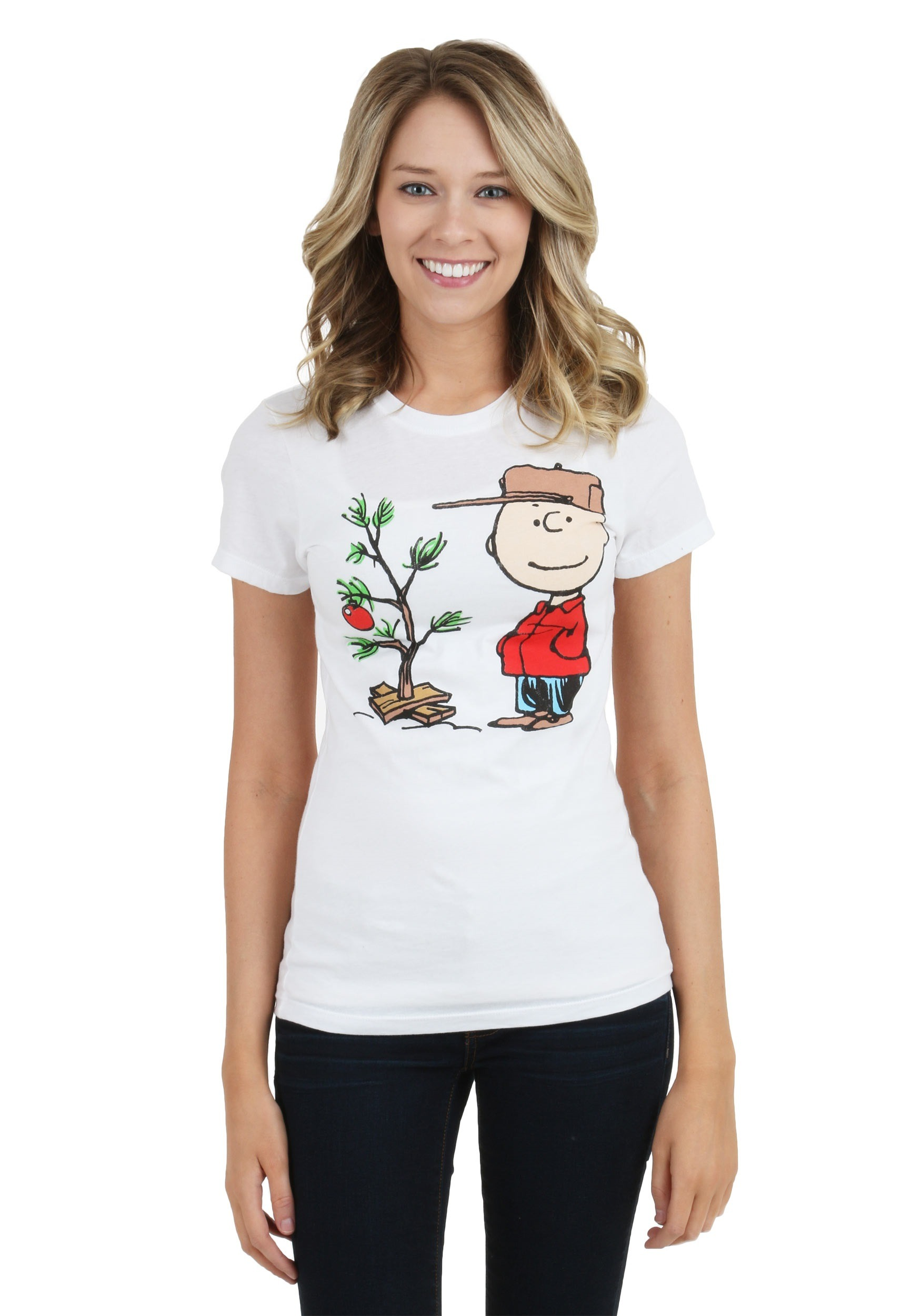 Juniors Charlie Brown Christmas Tree T-Shirt