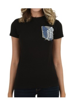 Womens Attack On Titan Survey Corps Shield Crest T-Shirt