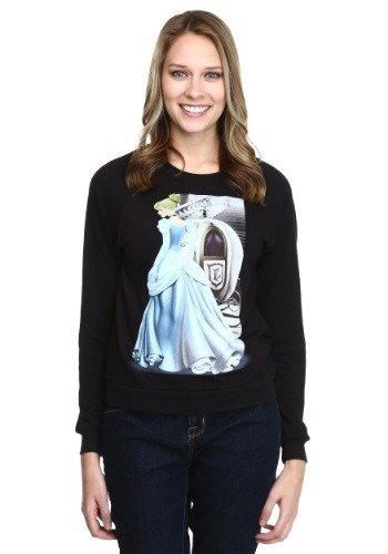 Cinderella Blue Gown Splitscreen Juniors Pullover