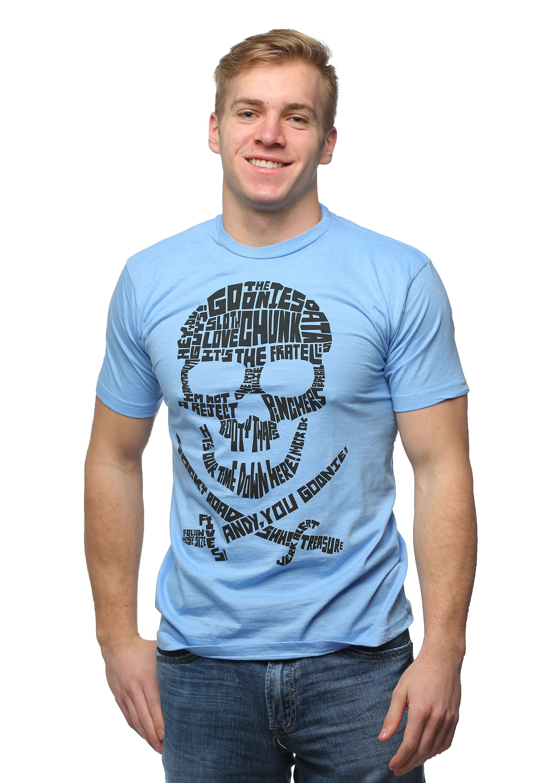 Goonies quote skull light blue t shirt for men Light blue t shirt mens
