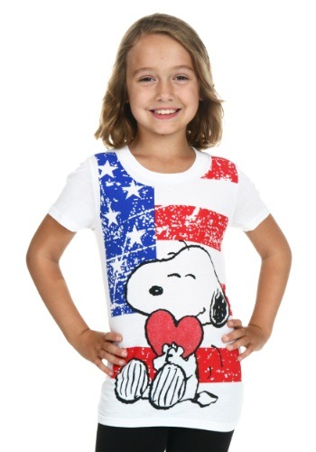 Peanuts Snoopy Hearts America Tween Girls T-Shirt