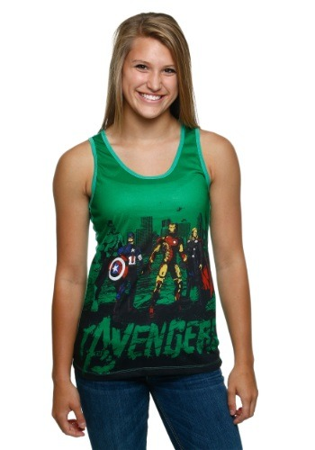 Avengers Ink Color Juniors Racer-Back Tank Top