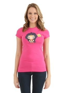Cute Wonder Woman and Star Juniors T-Shirt