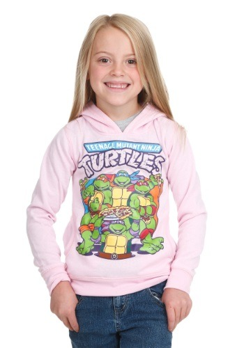 Girls TMNT Group Pizza Light Pink Hoodie