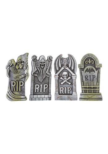 Halloween Boneyard Set of Four Tombstone Decorations