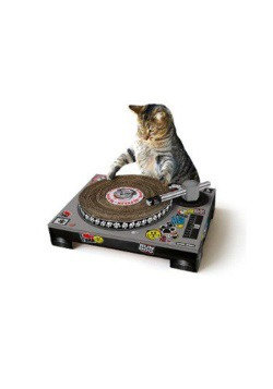 Cardboard Cat DJ Scratching Deck
