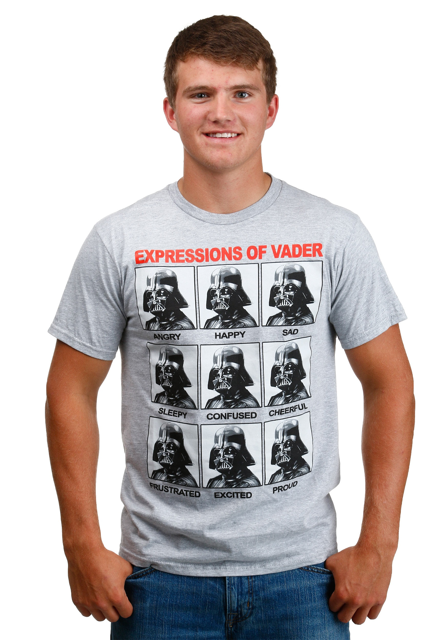 Darth vader expressions heather grey t shirt for Mens heather grey t shirt