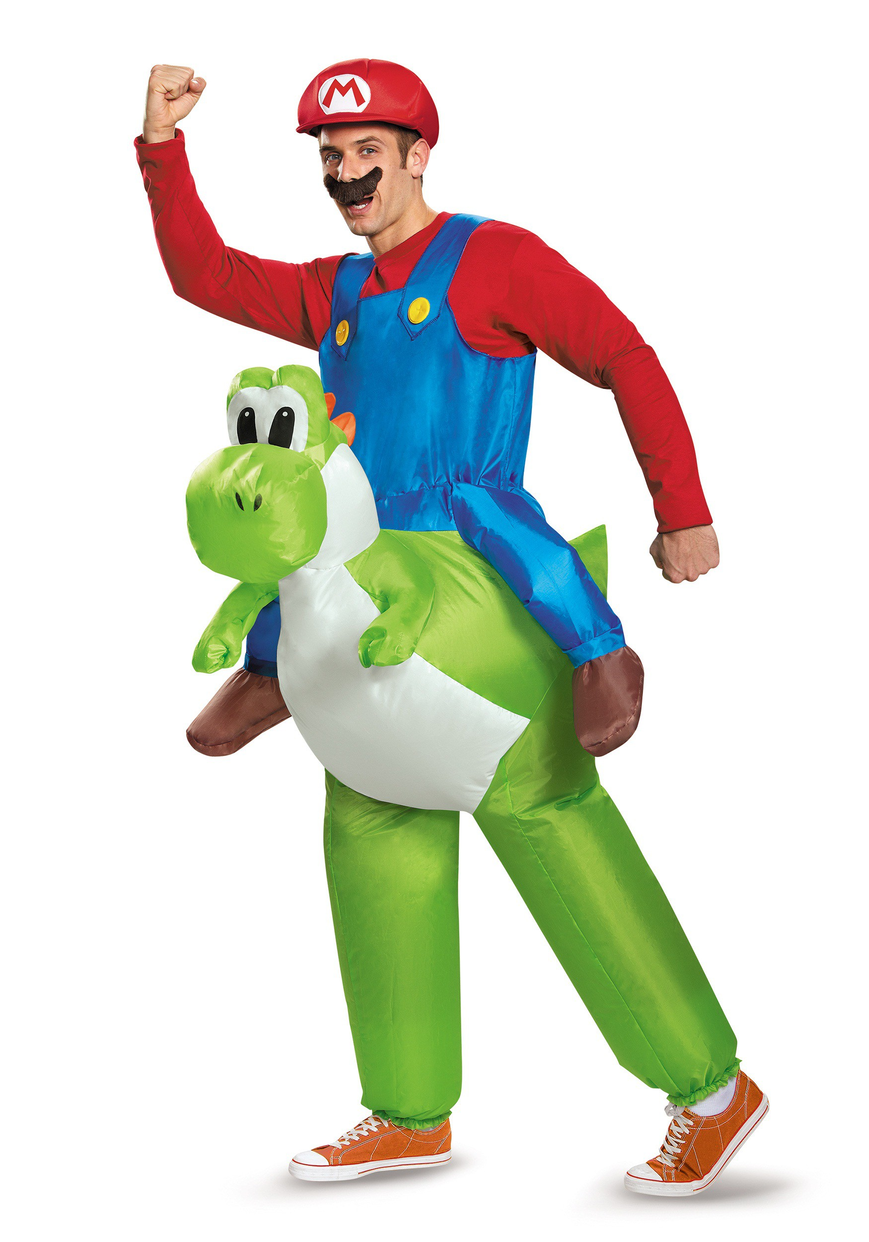 Mario Riding Yoshi Adult Costume on aa battery size chart