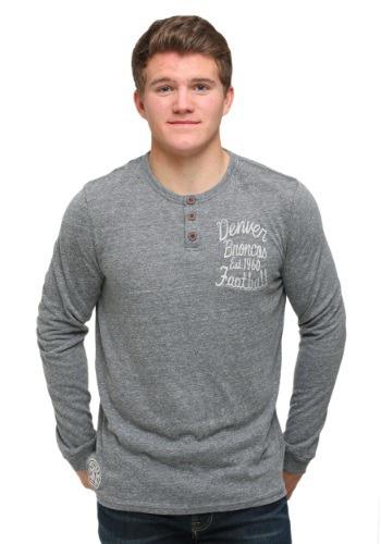 Denver Broncos Huddle Henley Mens Long Sleeve Shirt