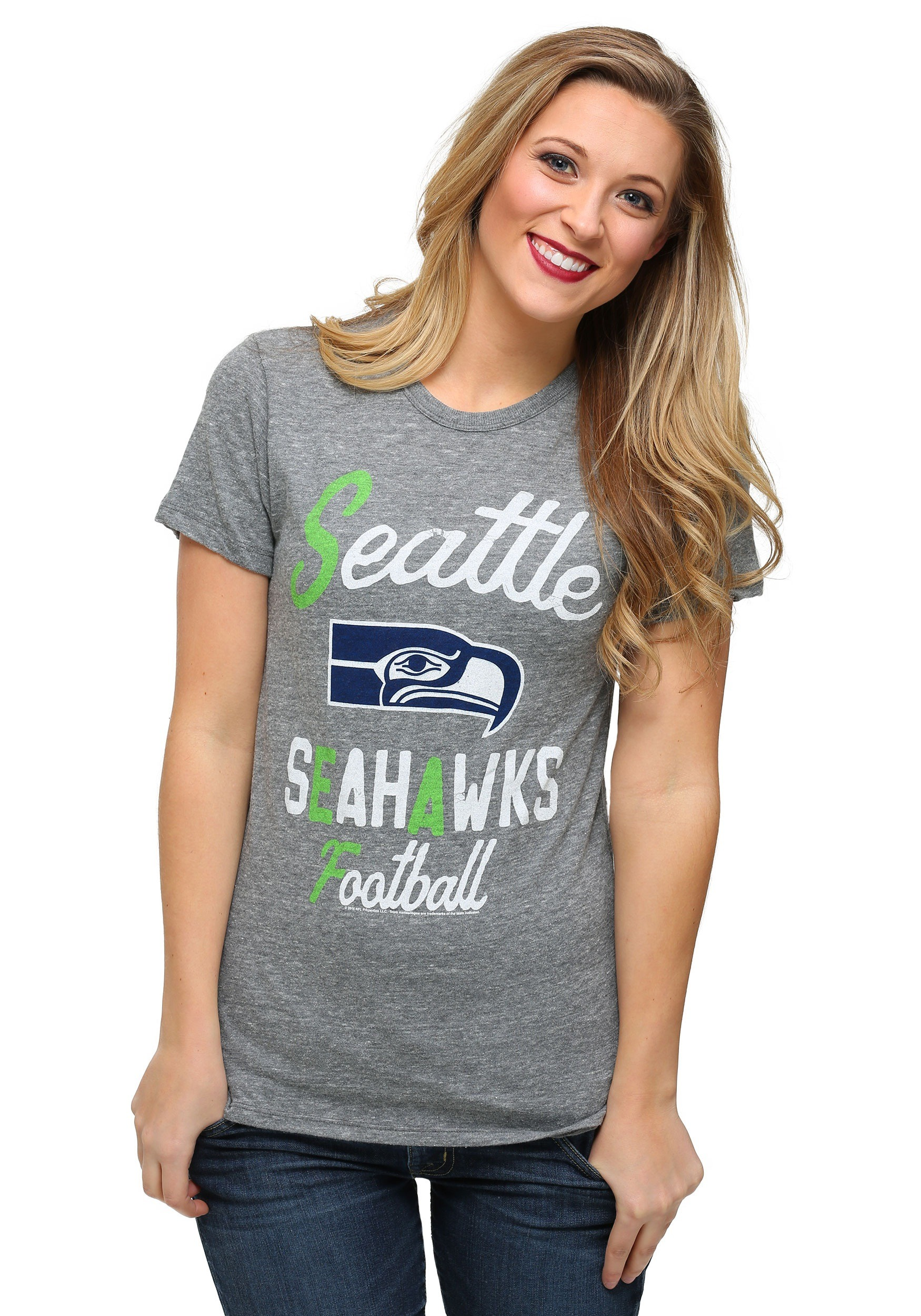 Seattle seahawks touchdown tri blend womens t shirt for Seahawks t shirt womens walmart