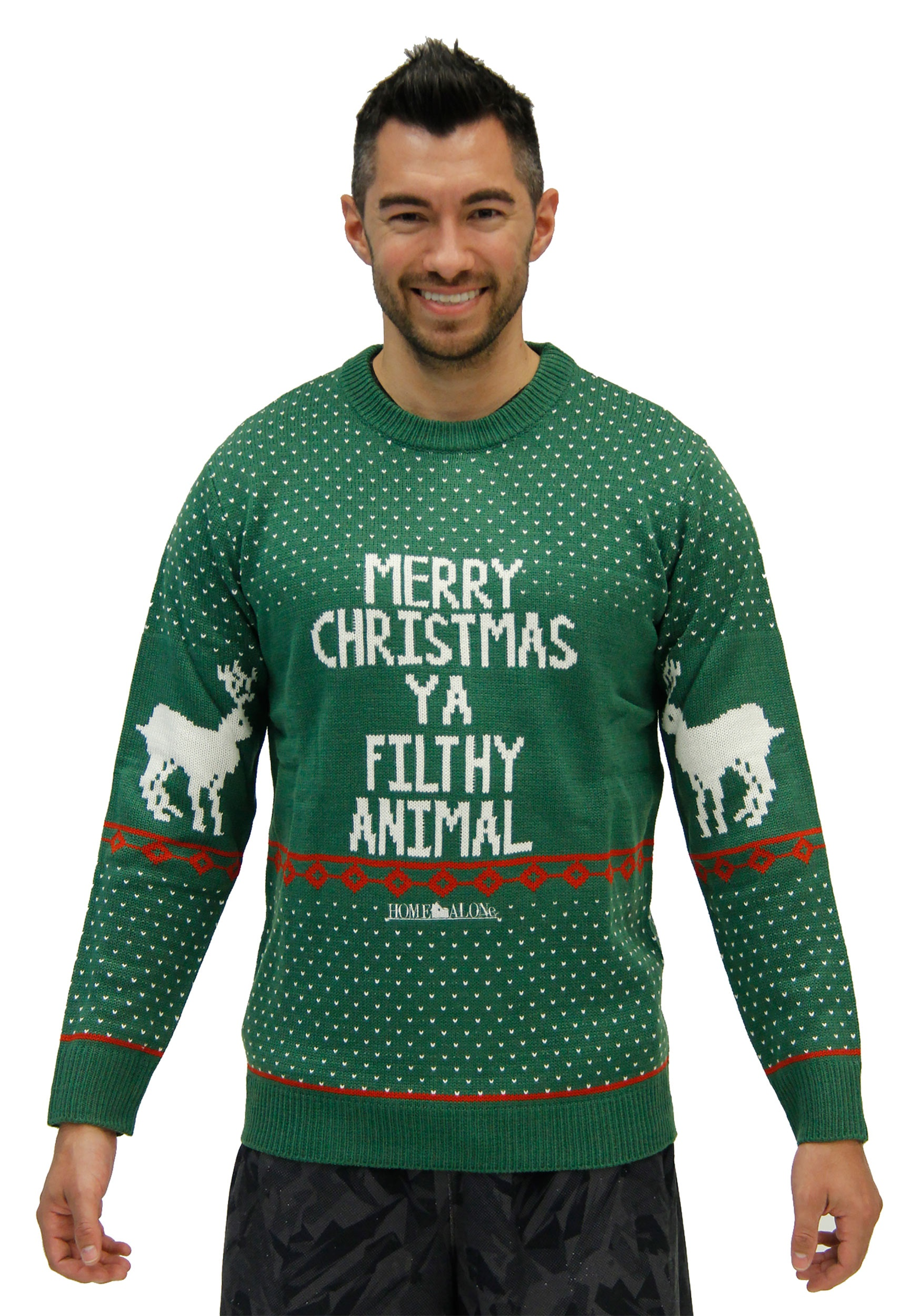 801fc059 Home Alone Green Merry Christmas Ya Filthy Animal Ugly X-Mas Sweater
