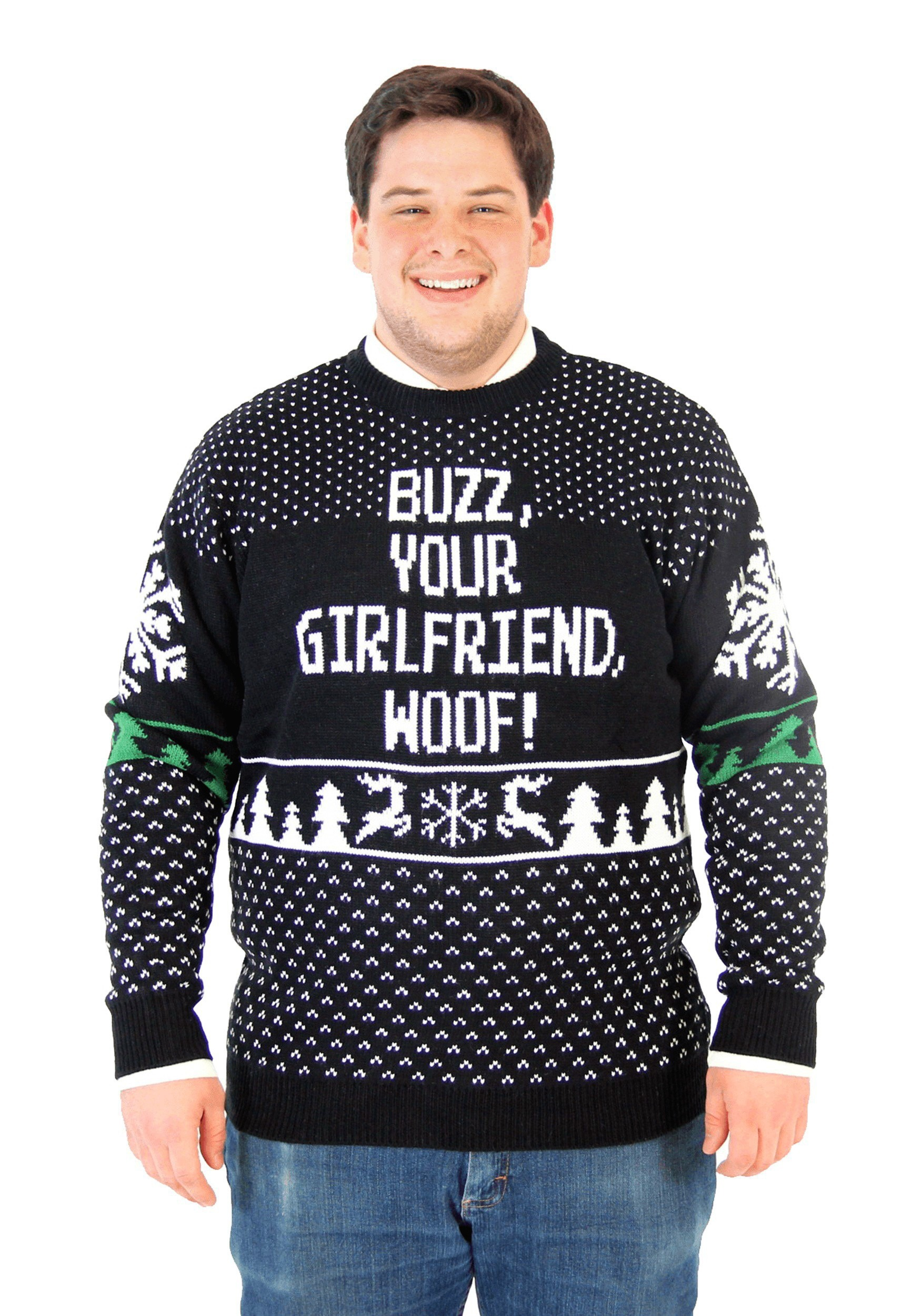 Plus Size Ugly Christmas Sweater.Home Alone Buzz Your Girlfriend Woof Plus Size Ugly Sweater